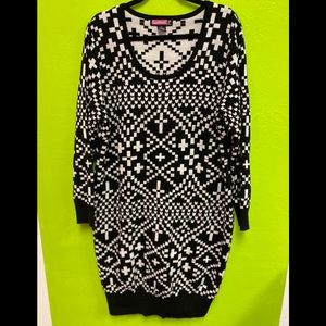 Say What? Sweater Dress Black White Knit size 3X